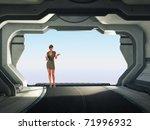 stewardess before open gate frame - stock photo