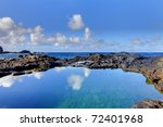 Olivine Pools with blue sky and water reflections. North Part of Maui. Hawaii. - stock photo