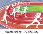 Illustration background of runners sprinting in a race around the track - stock vector