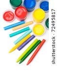 Colorful paints and pencils top view - stock photo