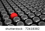 3d black steel spheres and one contrast red sphere - stock photo
