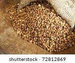 Buckwheat in a bag - stock photo