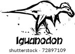 Simple rough woodcut style depictions of a Iguanodon Dinosaur - stock vector