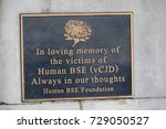 London, 28th September 2017:- Memorial plaque to the Victims of Hums BSE (vCJD) on the South Bank, near St Thomas' Hospital - stock photo
