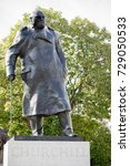 London, 28th September 2017:-Statue of former Prime Minister Sir Winston Churchill in Parliment Square - stock photo