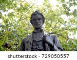 London, 28th September 2017:-Statue of President Abraham Lincoln in Parliment Square - stock photo