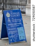 London, 28th September 2017:-Signs outside The Supreme Court of the United Kingdom and the Judicial Committe of the Privy Council. Located at Middlesex Guildhall - stock photo