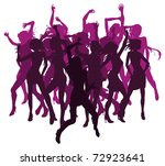 Group of sexy beautiful women dancing in silhouette - stock vector