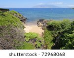 Palauea Beach Coastal Tropical Line with rocks and sand beach. Maui. Hawaii. - stock photo