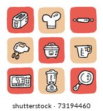 doodle icon set - kitchen appliances - stock vector