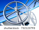 steering wheel at a ferry - stock photo