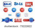 illustration of collection of different sale tags on isolated background - stock vector