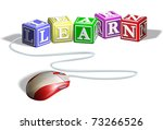 Mouse connected to alphabet letter blocks forming the word learn. Concept for e-learning. - stock vector