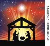 Illustration of traditional Christian Christmas Nativity scene - stock vector
