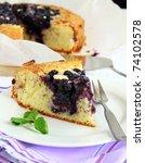 Closeup of a beautiful home made blueberry pie - stock photo
