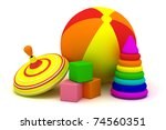 Children's ball, pyramid, cubes and humming top - stock photo