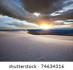 White Sands Park in USA at sunrise - stock photo