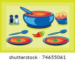 Big cooking pot and a plates with soup - stock vector