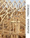 boards and truss of building - stock photo