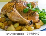 roasted chicken with potatoes and salad on white platter - stock photo