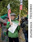 4th November 2017, London, United Kingdom:-Pro Palestine demonstrators march through London against the Balfour declaration of 1917 and the on going Israeli occupation - stock photo