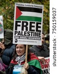 4th November 2017, London, United Kingdom:-Pro Palestine demonstrators march through London against the Balfour declaration of 1917 and the on going Israel occupation - stock photo