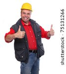 Happy male worker showing thumbs up. - stock photo