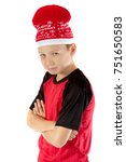 Pre-teen boy wearing a santa hat looking unhappy isolated on white - stock photo