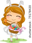 Illustration of a Little Girl Carrying an Easter Basket - stock vector