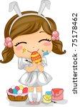 Illustration of a Girl Making Easter Eggs - stock vector