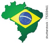 Glossy illustration of a map of Brazil with the Brazilian flag over it. - stock photo
