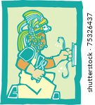 Mayan Temple style image of an electrician - stock vector