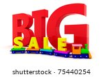 """Toy train with letters """"BIG sale"""" - stock photo"""