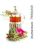 medicinal tea from different berries and medicinal herbs - stock photo