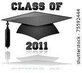 Glossy illustration of a hat and the words Class of 2011, reflected on a clear background - stock photo