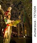 Toy soldier illuminated decorations at Rockefeller Center in Manhattan. - stock photo