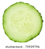 Fresh cucumber slice isolated on white background - stock photo