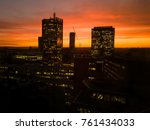 Prague skyscrapers in orange sunset. Office buildings.  - stock photo