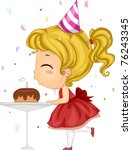 Illustration of a Girl Blowing Her Birthday Candle - stock vector