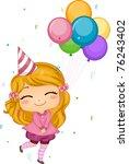 Illustration of a Girl Holding Birthday Balloons - stock vector