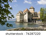 Switzerland - View of the Chillon´s castle near Montreux - stock photo