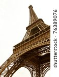 Eiffel Tower on a white background. In the sepia. A symbol of Paris. - stock photo