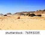 Sahara desert, traces of a vehicle in the Sahara desert, Western desert, Egypt, Africa - stock photo