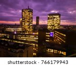 Prague skyscrapers in blue hour with purple sky. Modern office architecture. - stock photo