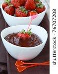 Hot chocolate cream and strawberry beautiful dessert - stock photo
