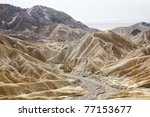 Zabriskie Point is located in east of Death Valley in Death Valley National Park in the us noted for its erosional landscape.Composed of sediments from Furnace Creek Lake  5 million years ago - stock photo