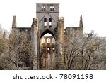 monastery and church ruin  in france - stock photo