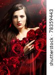 attractive woman in red drapery with red roses - stock photo