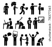 Business Finance Office Workplace People Man Working Icon Symbol Sign - stock photo
