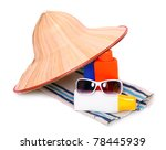 UV protection equipment for happy holidays. Sunglasses, hat and sun lotion. - stock photo